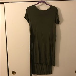 Long olive green shirt with slit sides